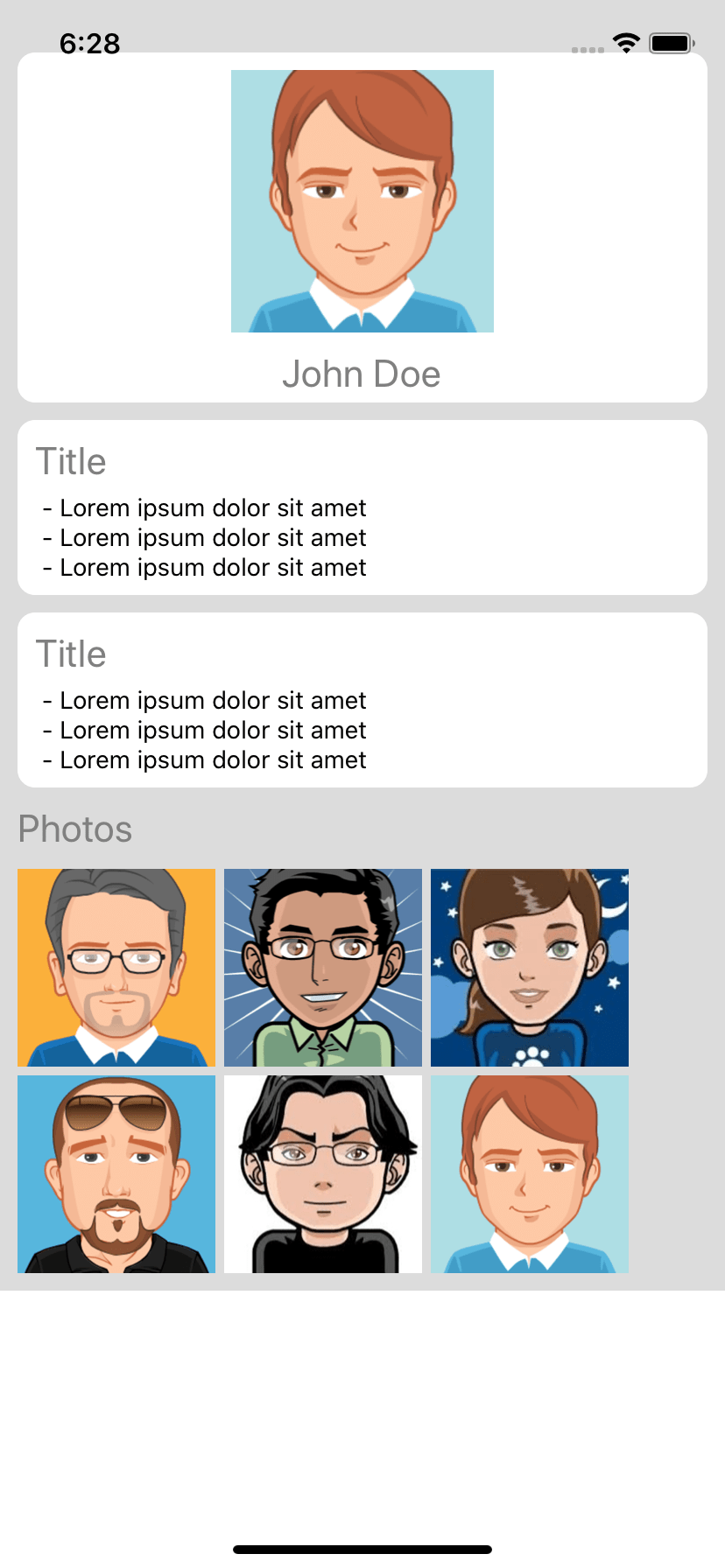 React native snippet profile detail