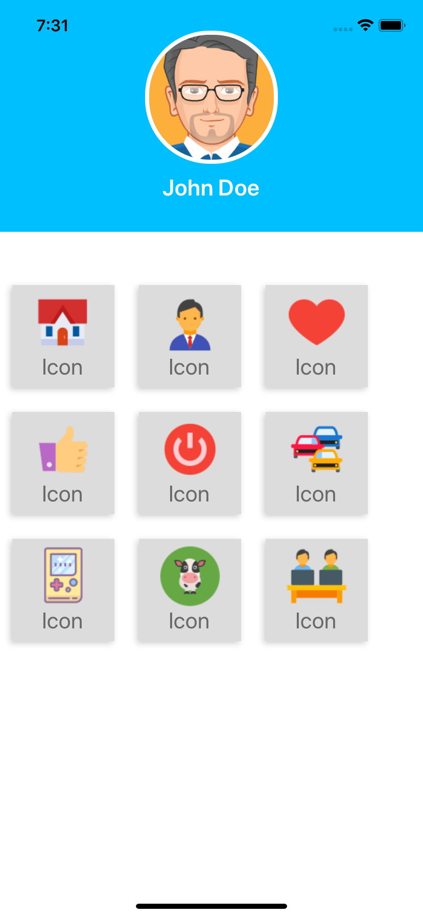 React native snippet Profile with icons