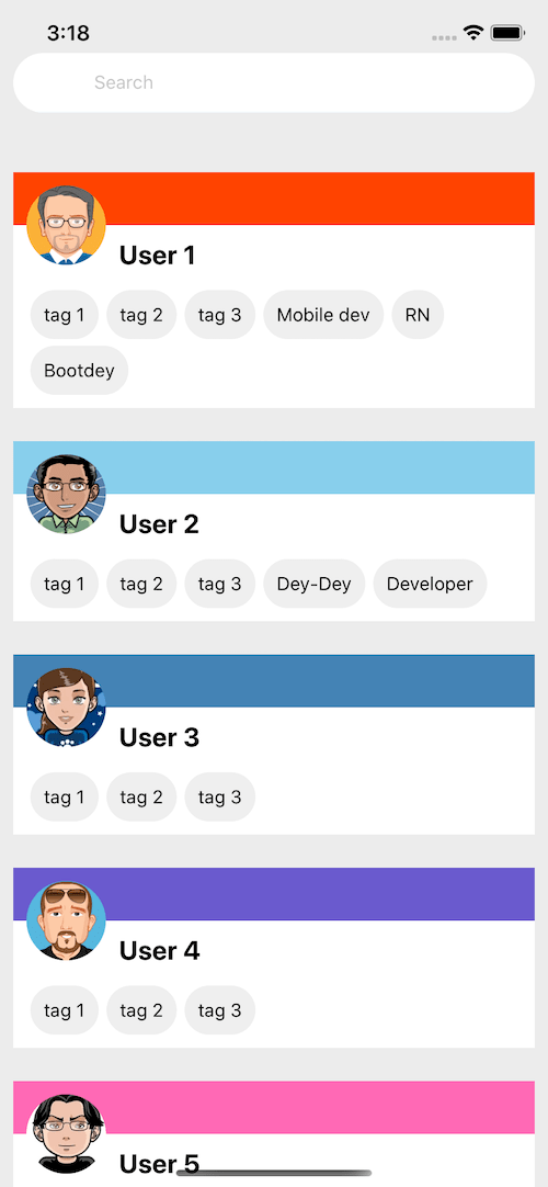 React native simple profile list ui example code example