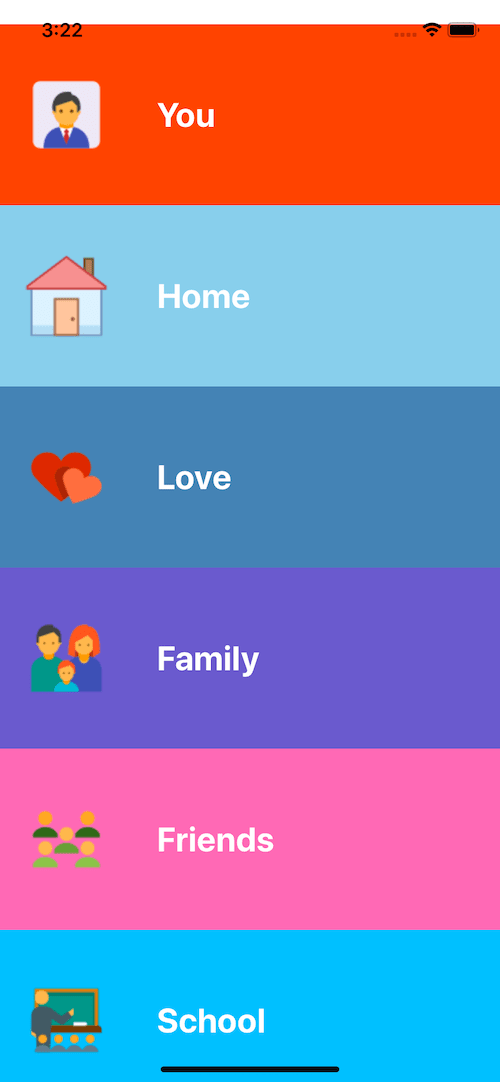free react native example. home colorful menu ui example