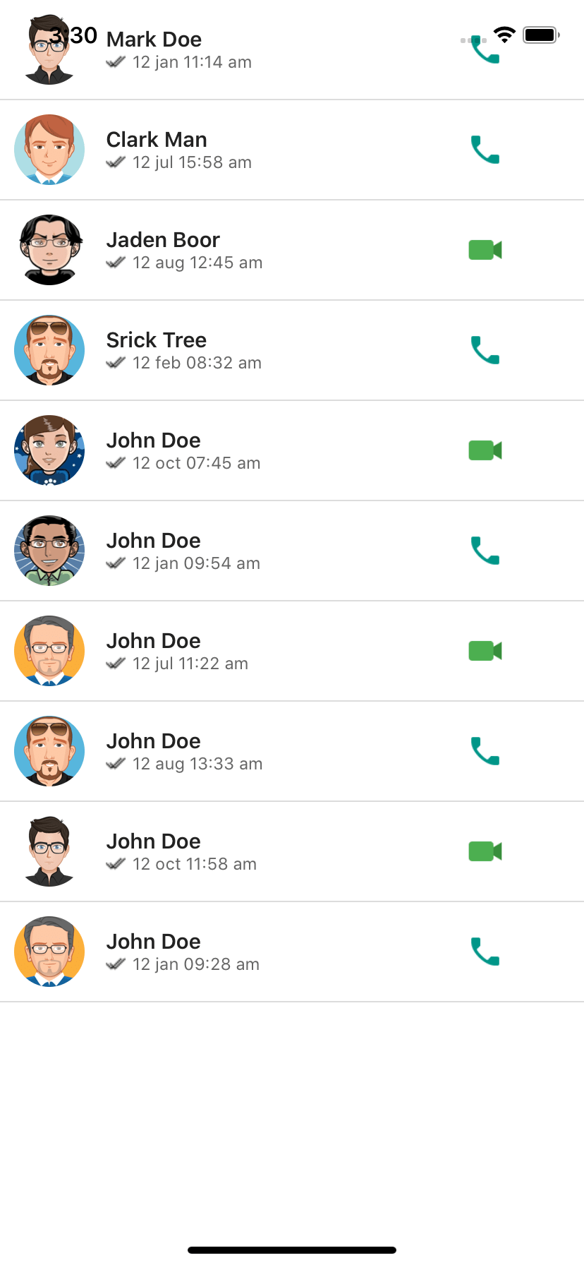 React native WhatsApp call list ui example example