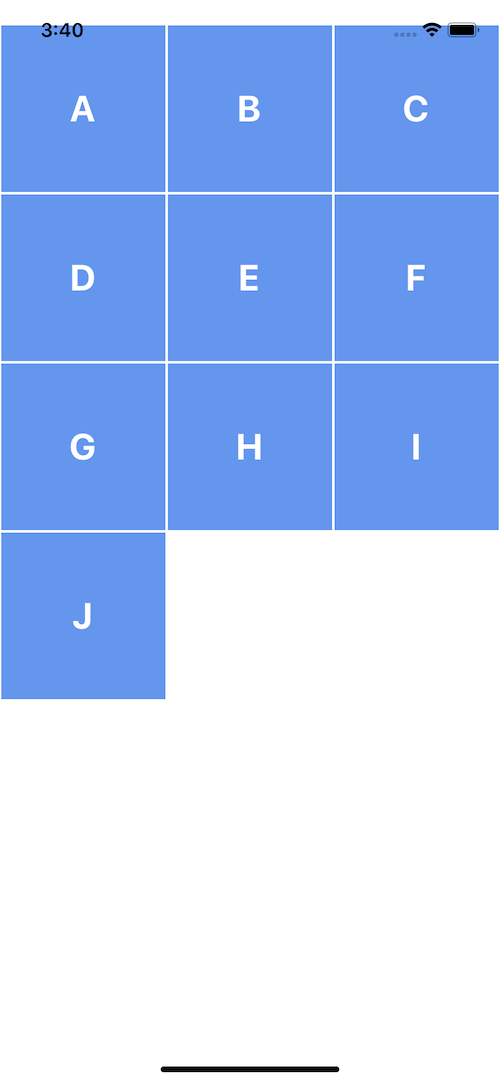 React native FlatList Grid example