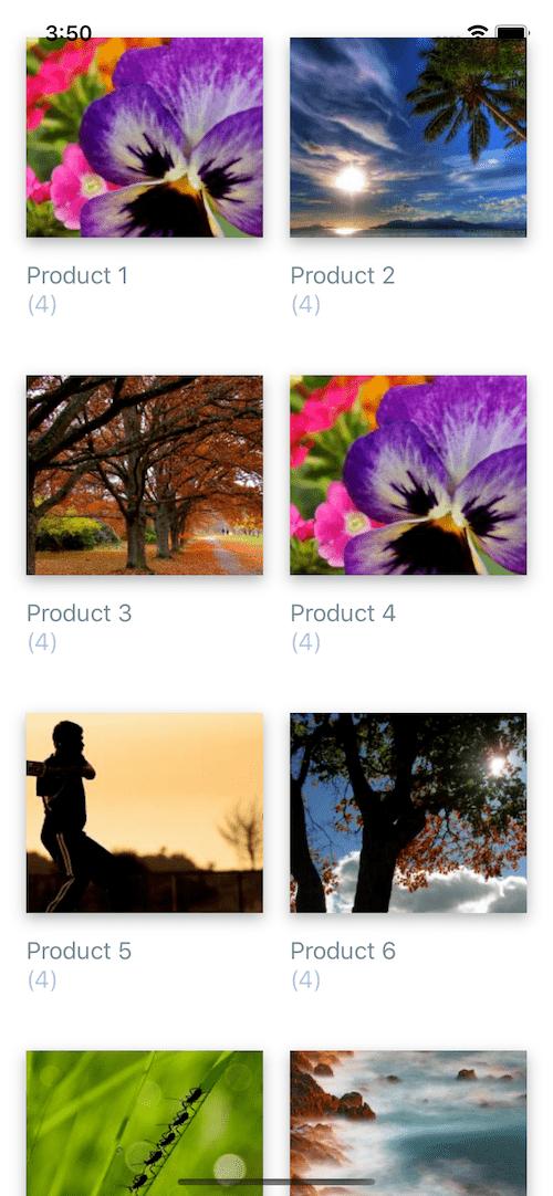 free react native example. list of album photos
