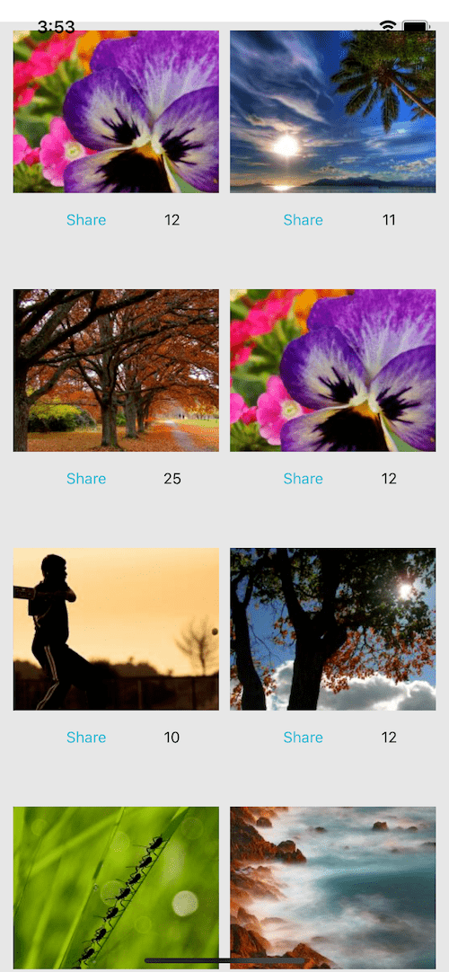 React native Image Gallery List example