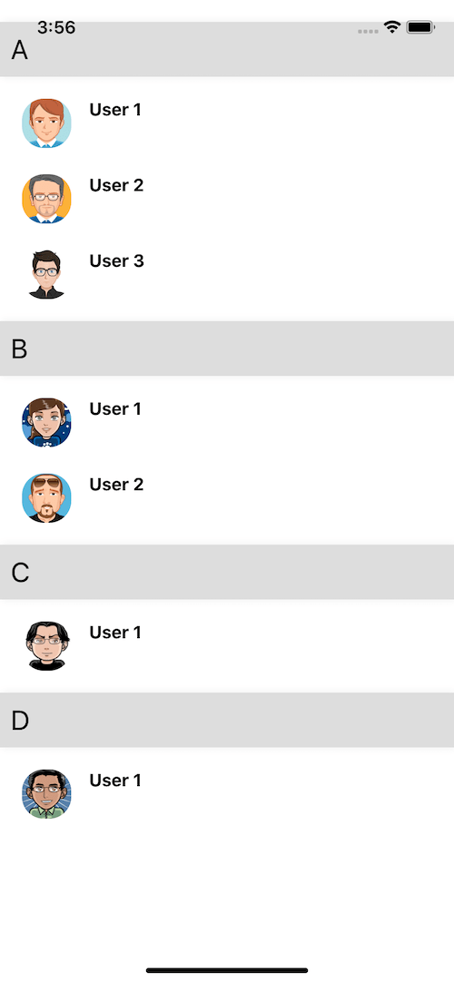 React native Sectionlist ui example example