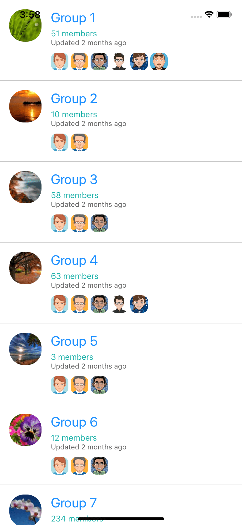 free react native example. Group List ui example