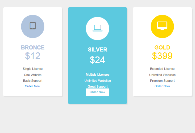 Foundation zurp Clear Pricing tables example