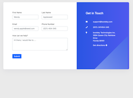 Bootstrap bs4 contact form example