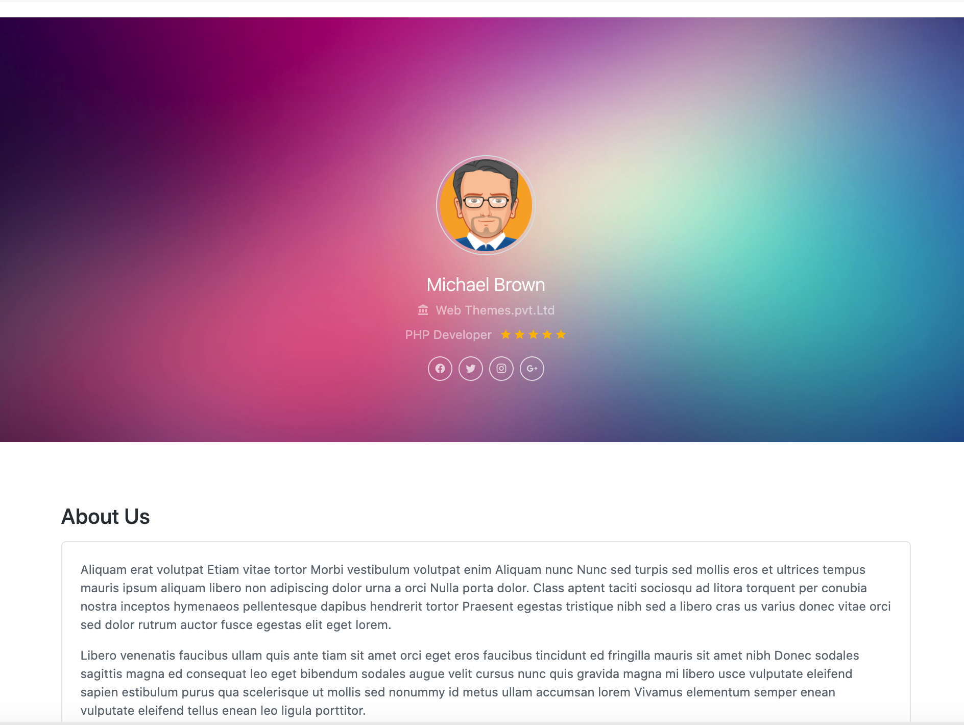 Bootstrap bs4 light resume page example