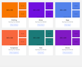 Bootstrap product card image tiles example