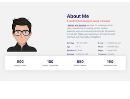 Bootstrap about me example