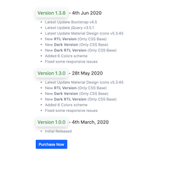 Bootstrap snippets. Changelog page