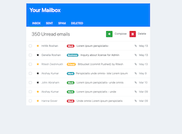 Bootstrap email inbox card example