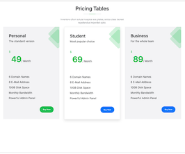 Bootstrap snippets. pricing tables