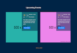 Bootstrap snippets. upcoming events cards