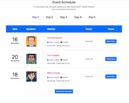 Bootstrap Event Schedule list example