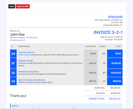 Bootstrap invoice page example