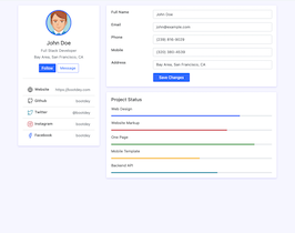 Bootstrap profile edit data and skills example