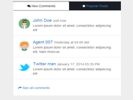 Bootstrap snippet New comments and popular post list