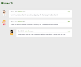 Bootstrap snippets. blog comments