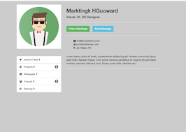 Bootstrap snippet Profile canvas