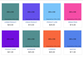 Bootstrap snippets. shopping items