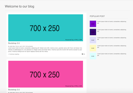 Bootstrap snippet blog page