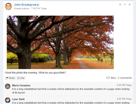 Bootstrap Social network post image example