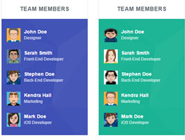 Bootstrap snippets. team members list