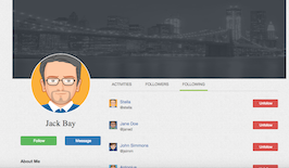 Bootstrap snippet Profile Activities Followers Following