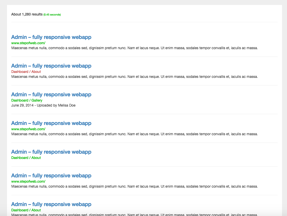 Bootstrap snippet simple page result