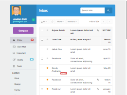 Bootstrap snippet colored inbox mail list and compose
