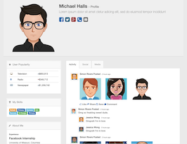 Bootstrap snippet media profile
