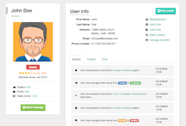 Bootstrap snippets. User profile with friends and chat