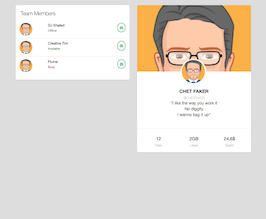 Bootstrap snippets. card members and profile
