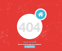 Bootstrap 404 error page with particles example