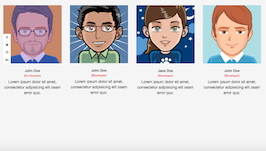 Bootstrap team members with left social icons example