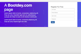 Bootstrap snippet Register form with particles js