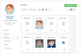 Bootstrap Drive files documents user profile example
