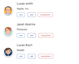 Bootstrap bs4 beta user list with badges example