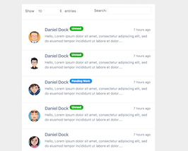 Bootstrap snippet bs4 beta Messages list