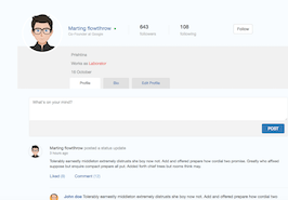 Bootstrap snippets. Works user profile