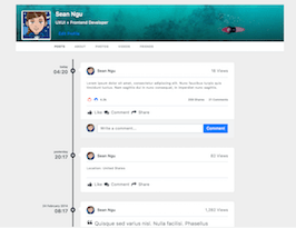 Bootstrap bs4 profile with timeline posts example