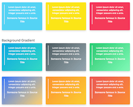 Bootstrap snippets. Colorful cards with gradient
