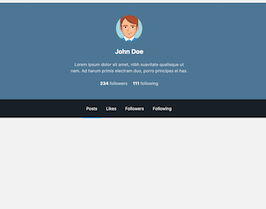 Bootstrap snippets. bs4 vertical user profile cover
