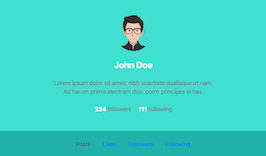 Bootstrap snippet bs4 vertical profile header