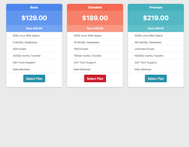 Bootstrap snippets. bs4 pricing plan list