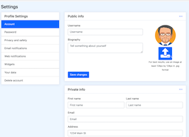 Bootstrap bs4 Profile Settings page example