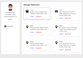 Bootstrap snippets. bs4 Manage Addresses page