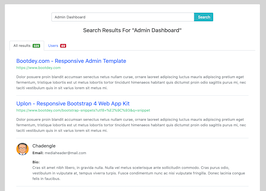 Bootstrap bs4 Search Results With Users example